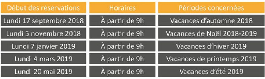 Cantepty Calendrier reservations